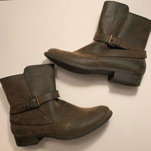 "Nicole ""Barlow"" vegan leather ankle booties buckle"